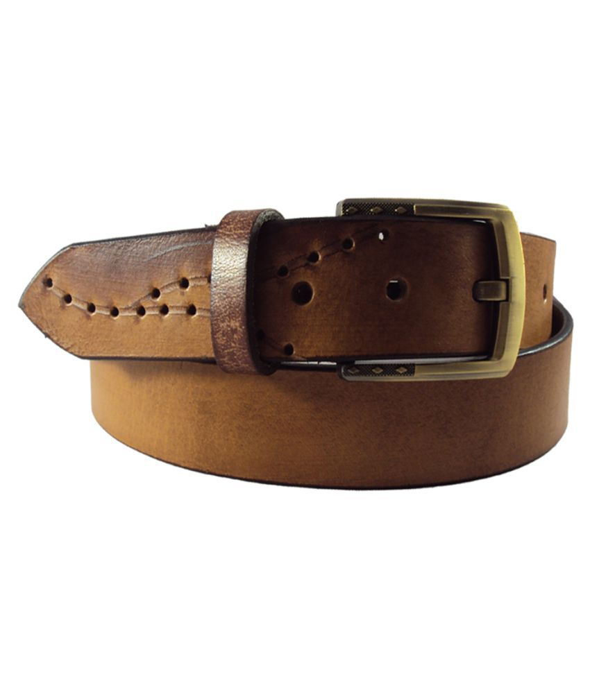 National Leathers Beige Leather Casual Belt