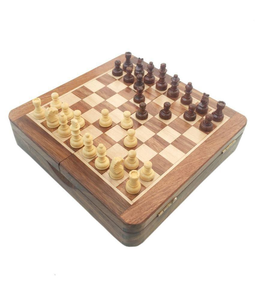 Vinr Brown Rose Wood Magnetic Chess Board
