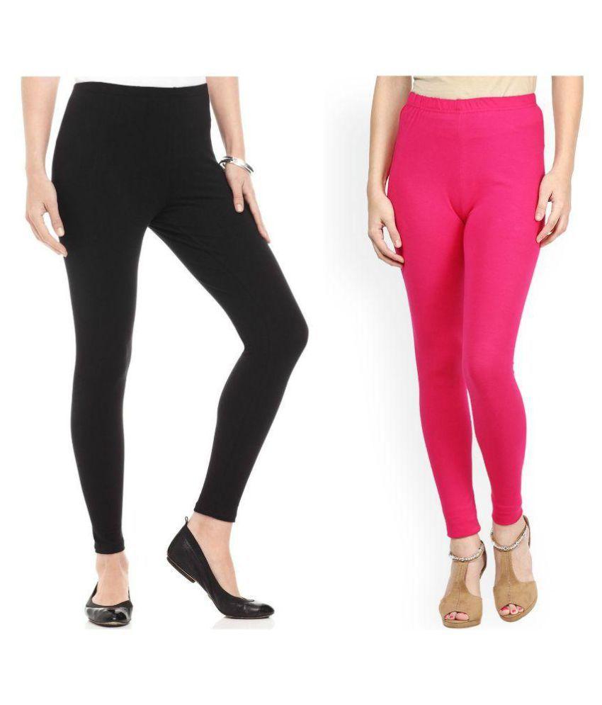 Fashglam Cotton Ankle Length Leggings bo Black Hot Pink Price