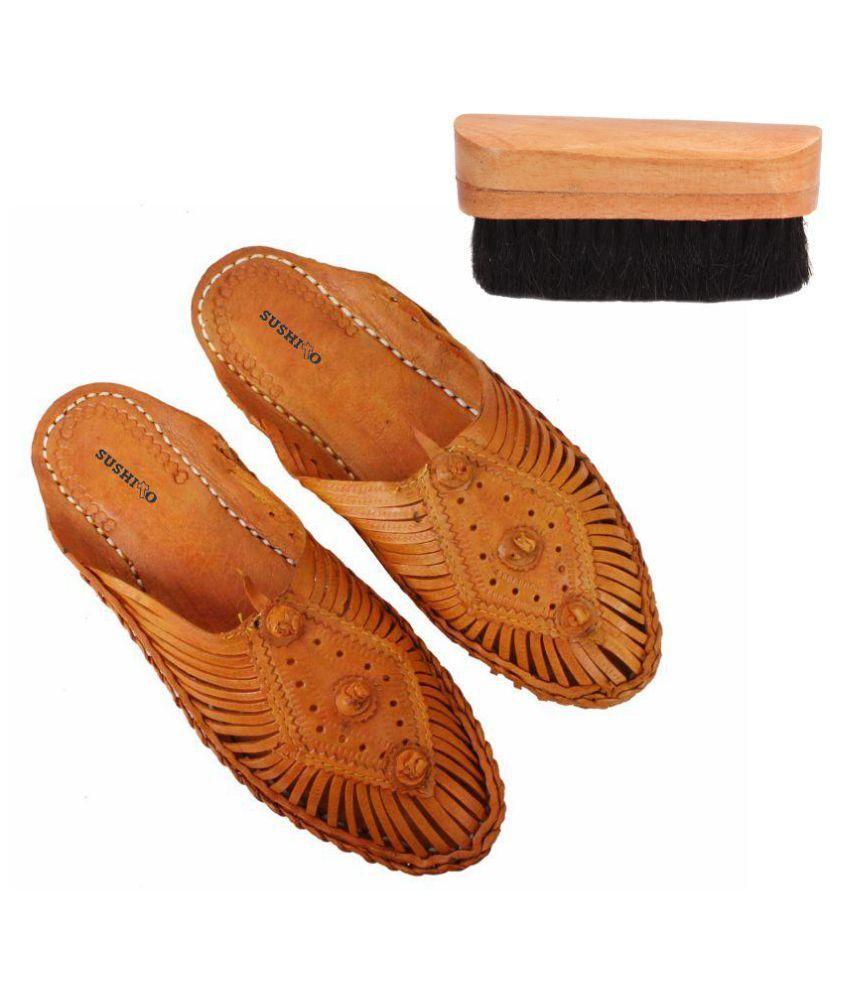 Jstarmart Yellow Flat Ethnic Footwear with Shoe Brush