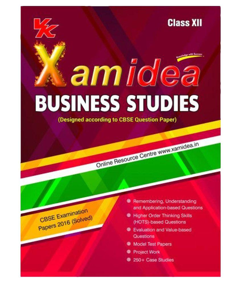 Xam Idea Business Studies- XII, 2016-17