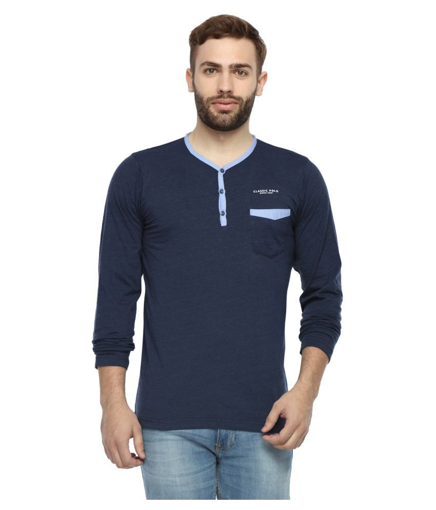 Classic Polo Blue Henley T-Shirt