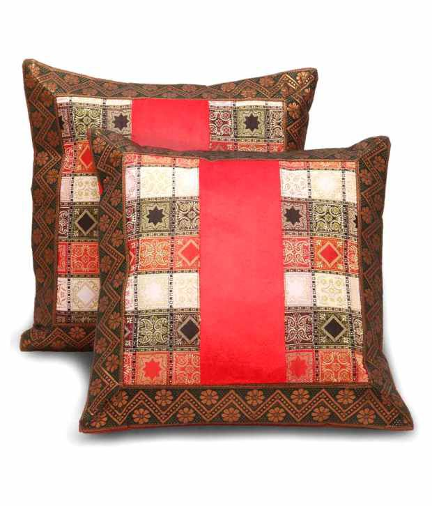 Shilpbazaar Set of 2 Satin Cushion Covers