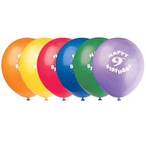 12quot Latex Happy 9th Birthday Balloons 6ct