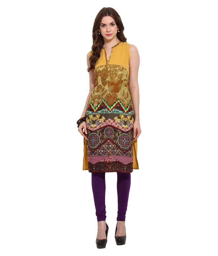 Fashion Eva Multicoloured Rayon Straight Digital Printed Kurti