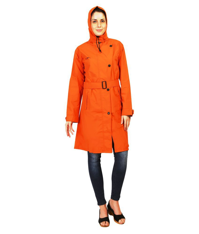 Zeel Orange Polyester Long Raincoat