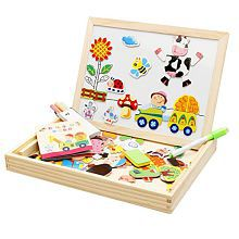 Lewo Farm Magnetic Board Games Double Face Drawing Board Wooden Education Toys For Kids Dry Erase Bo