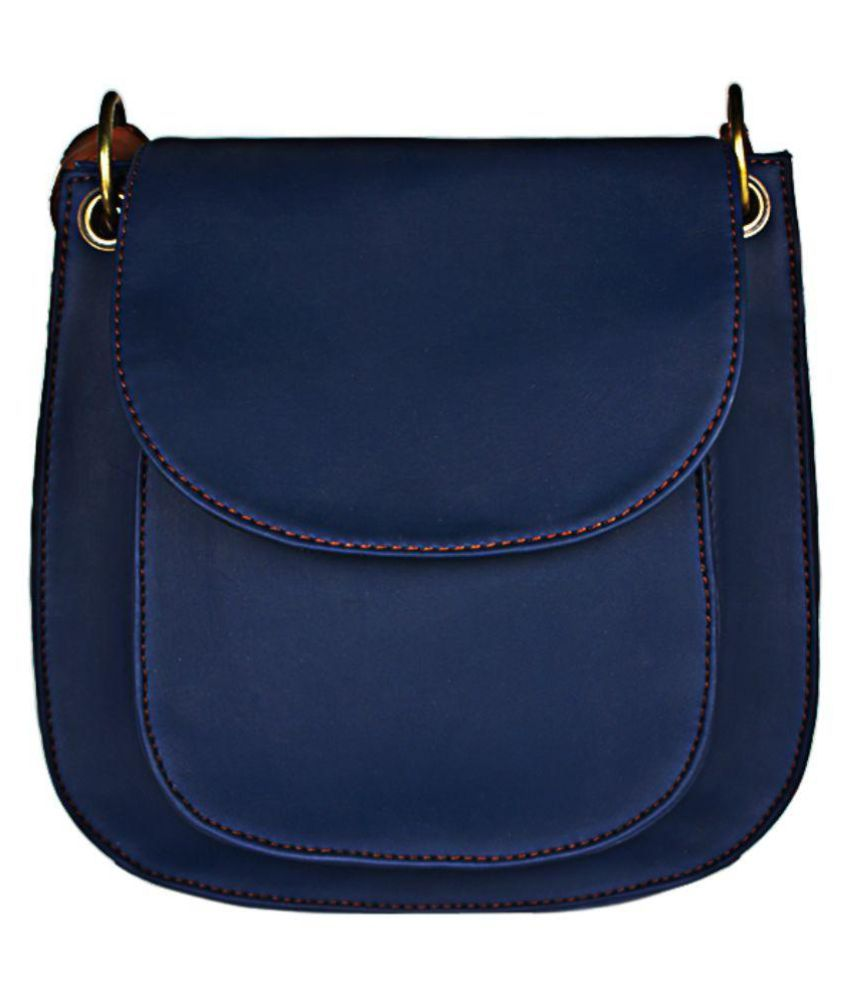 Caliberry Blue Faux Leather Sling Bag