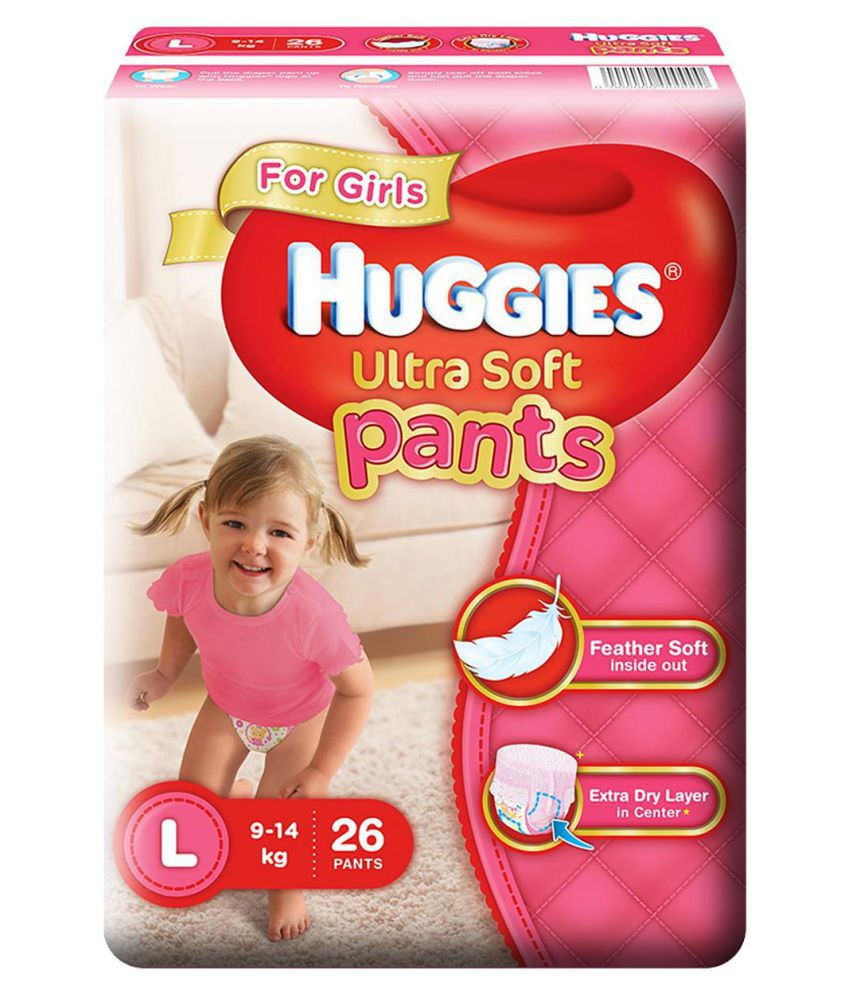 Huggies Ultra Soft Pants Large Size Premium Diapers For Girls 26 Counts