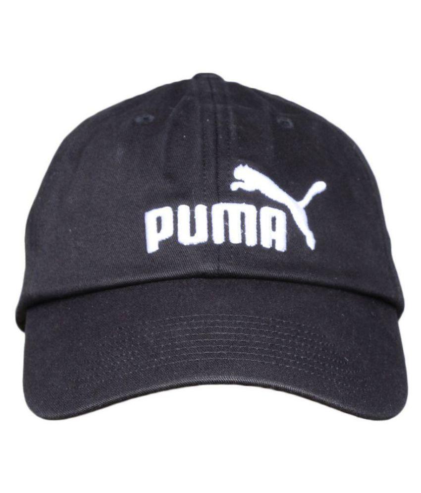 Puma Black Plain Cotton Caps