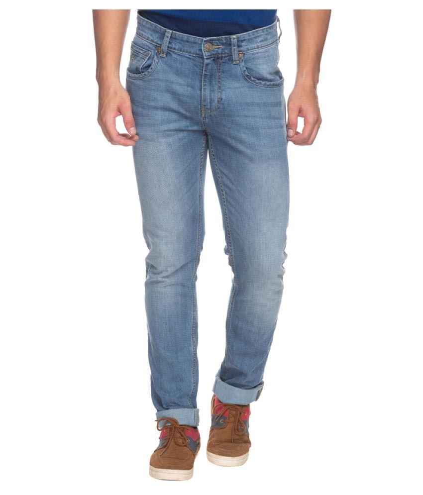 Parx Blue Slim Solid Jeans