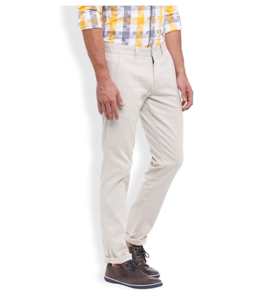 Parx White Regular Flat Trouser