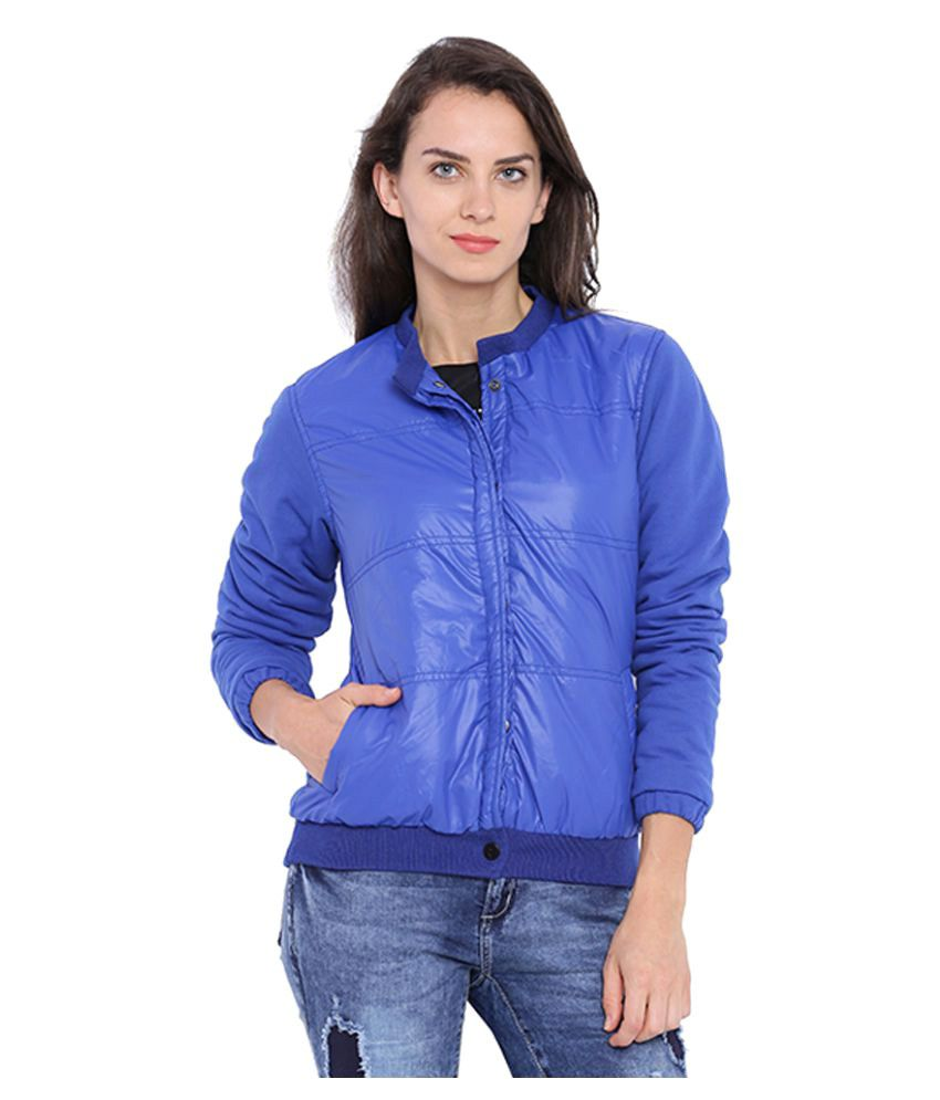 Campus Sutra Blue Nylon Quiltted Jackets