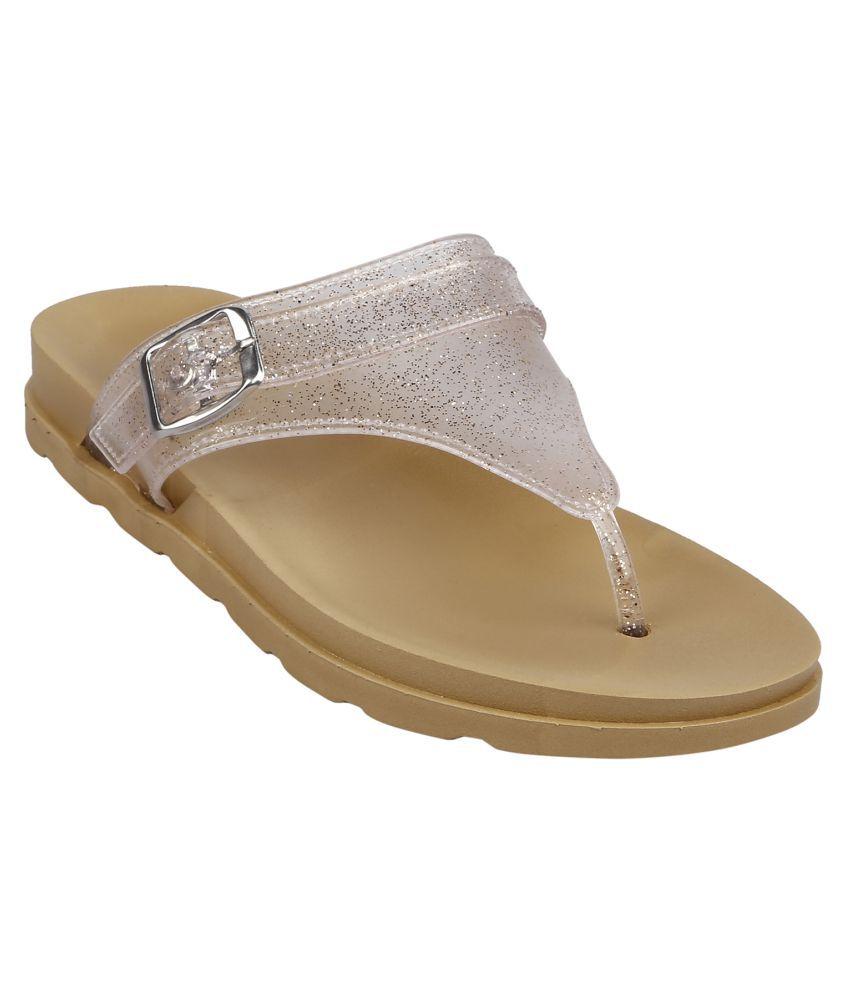 Flipside Womens Scarlett Gold Slippers