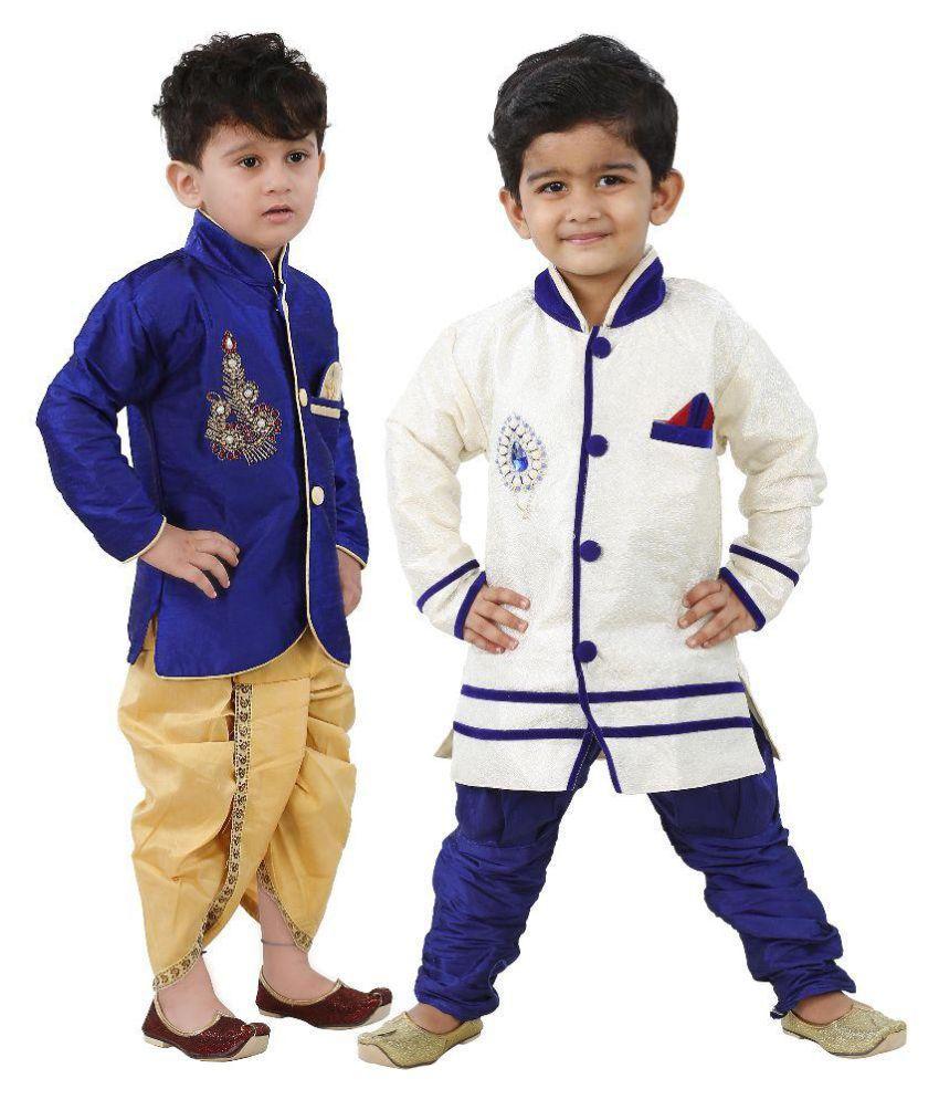 Ihram Kids For Sale Dubai: Ftcbazar Blue Dhoti Kurta & Sherwani-Pack Of 2