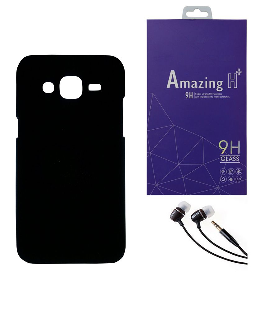 SAMSUNG Galaxy J7 AORIS Hard Black Back Case Cover With Tempered Glass & 3.5mm Super Sound Quality Earphone with Mic Combo