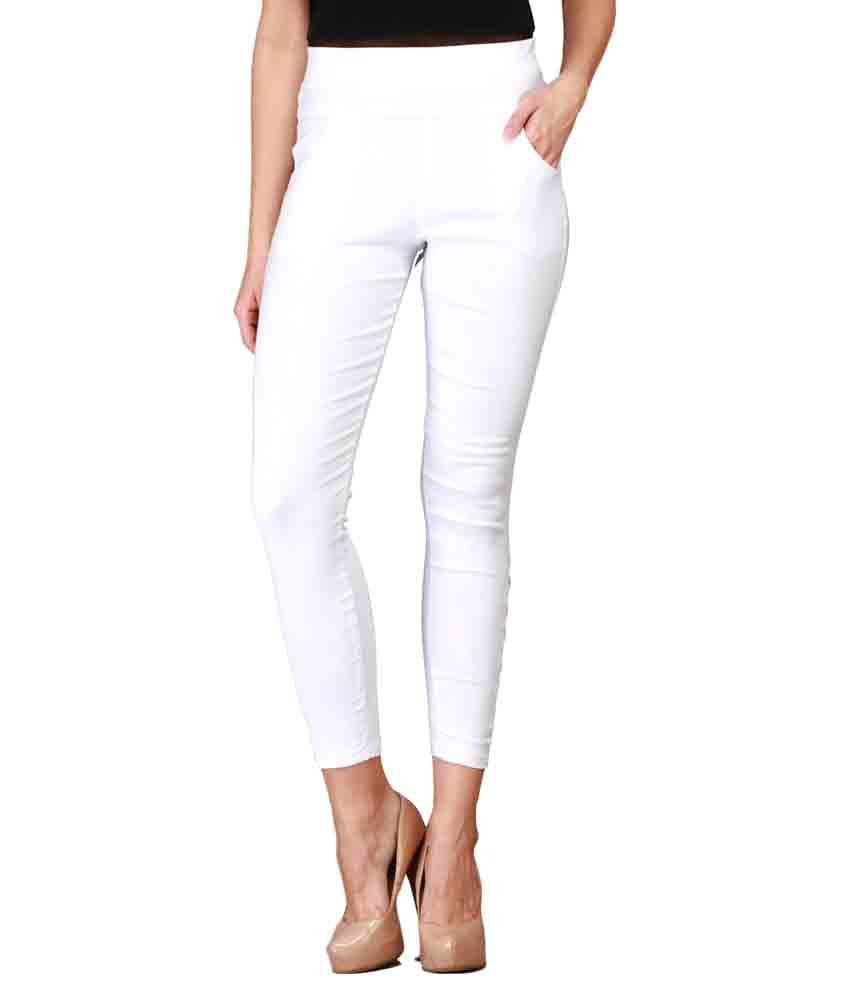 Harshaya G White Cotton Lycra Jeggings