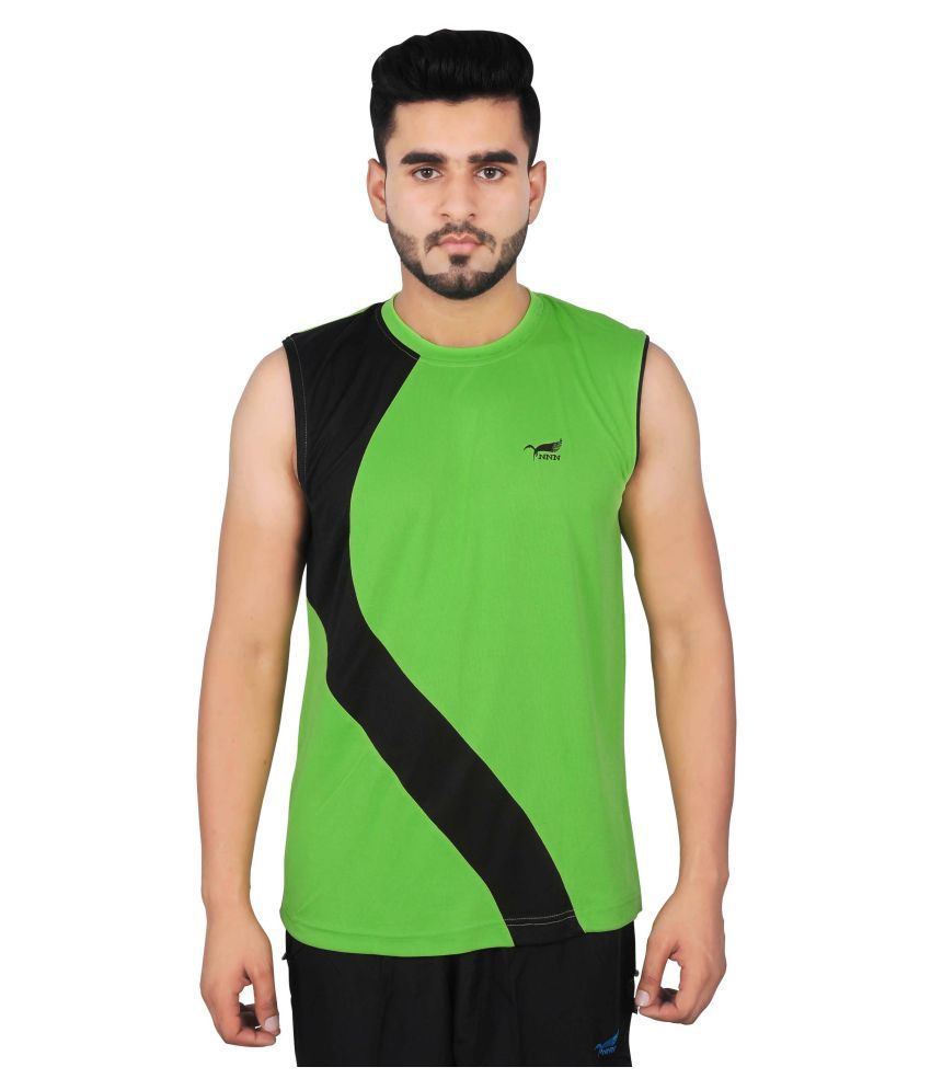 NNN Green Sleeveless Polyester T-shirt