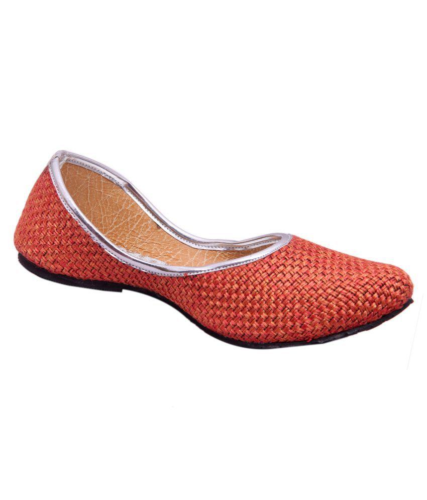 Belleza Orange Flat Ethnic Footwear