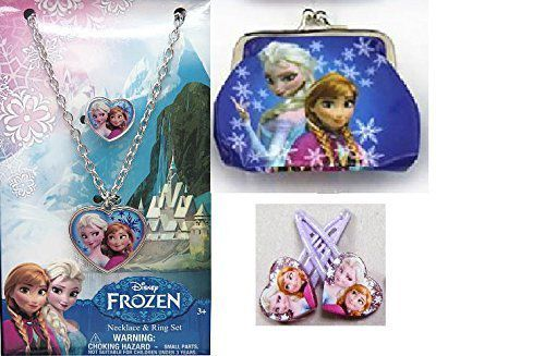 NEW DISNEY FROZEN ACCESSORY SET NECKLACE RING HAIR CLIPS ANNA ELSA