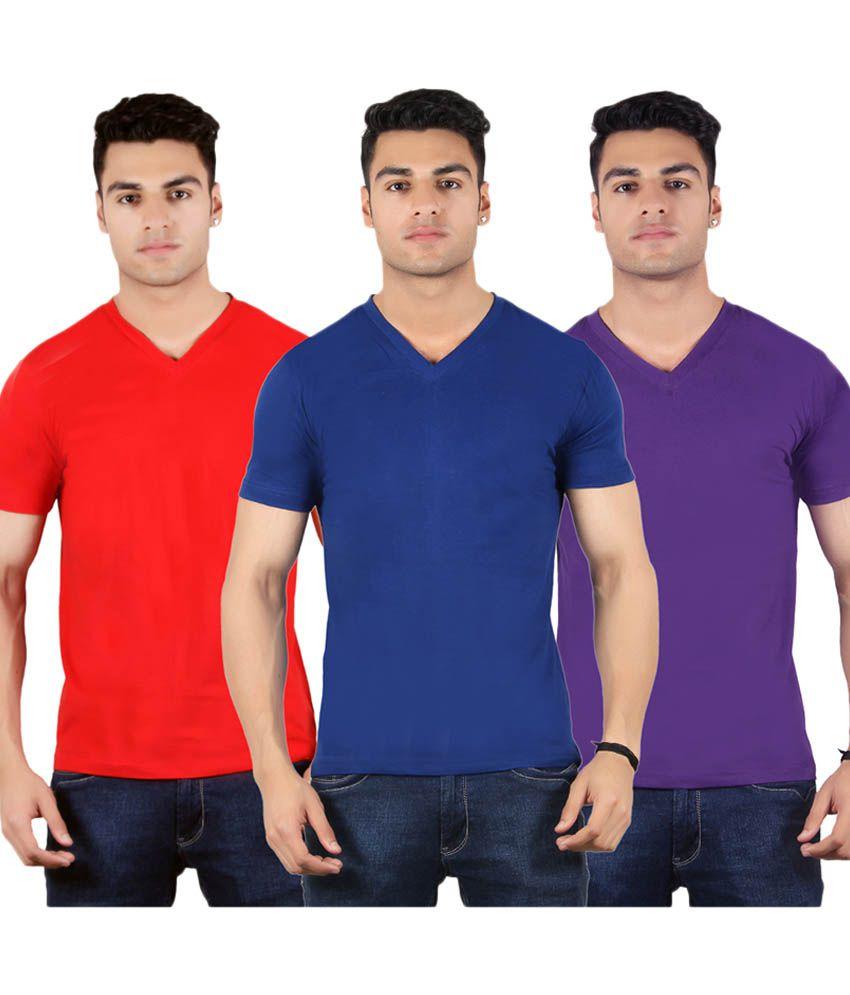 Diaz Multi V-Neck T-Shirt Pack of 3