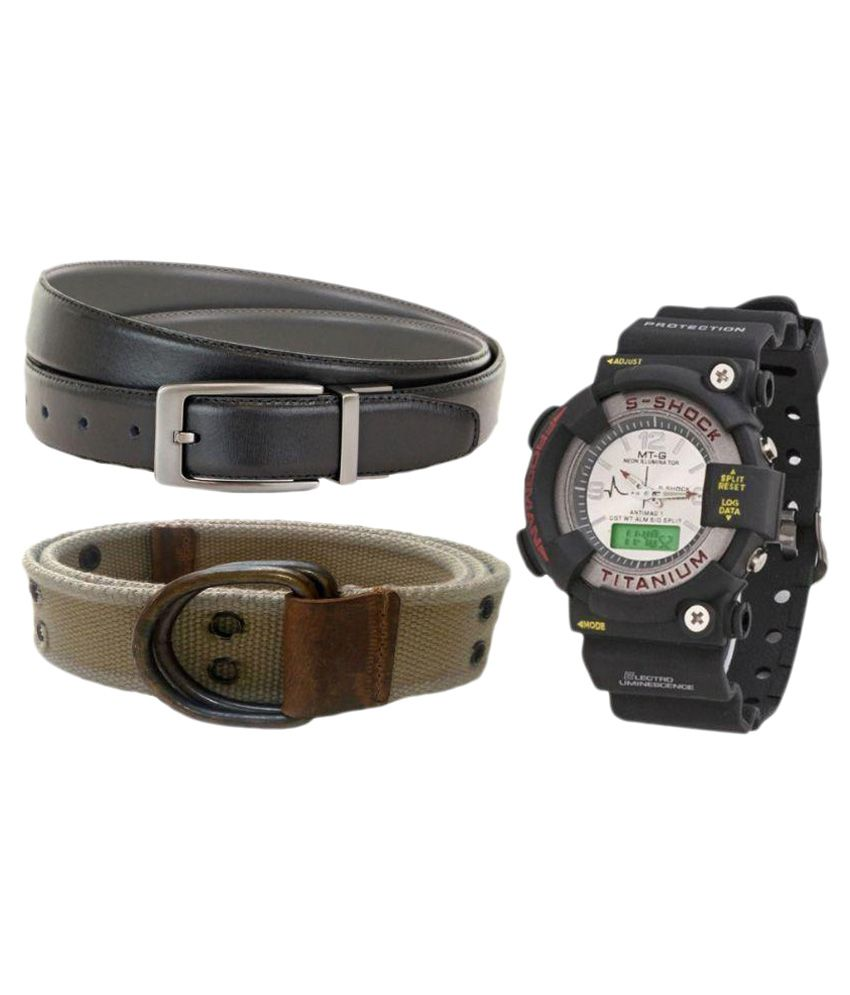 V-Luma Black Canvas Casual Belts with Watch