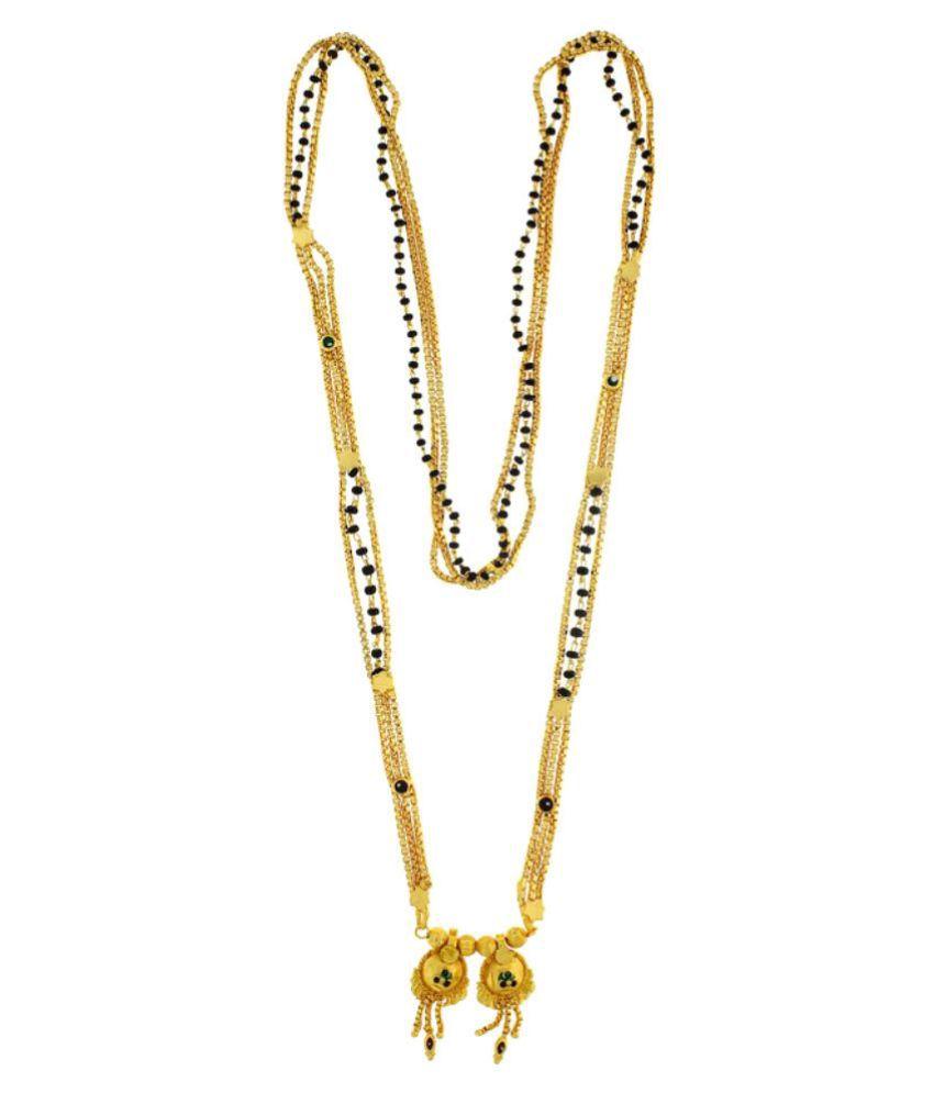Anuradha Art Acrylic Gold Plating Cubiz Zirconia Studded Golden Mangalsutra