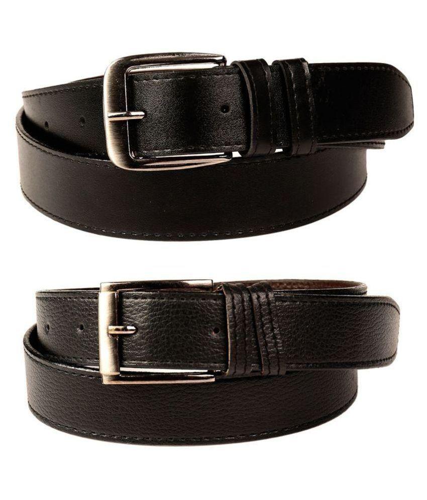 Coovs Black Faux Leather Formal Belt - Set of 2