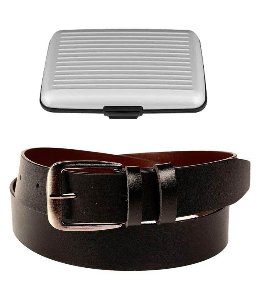 Coovs Black Faux Leather Formal Belts