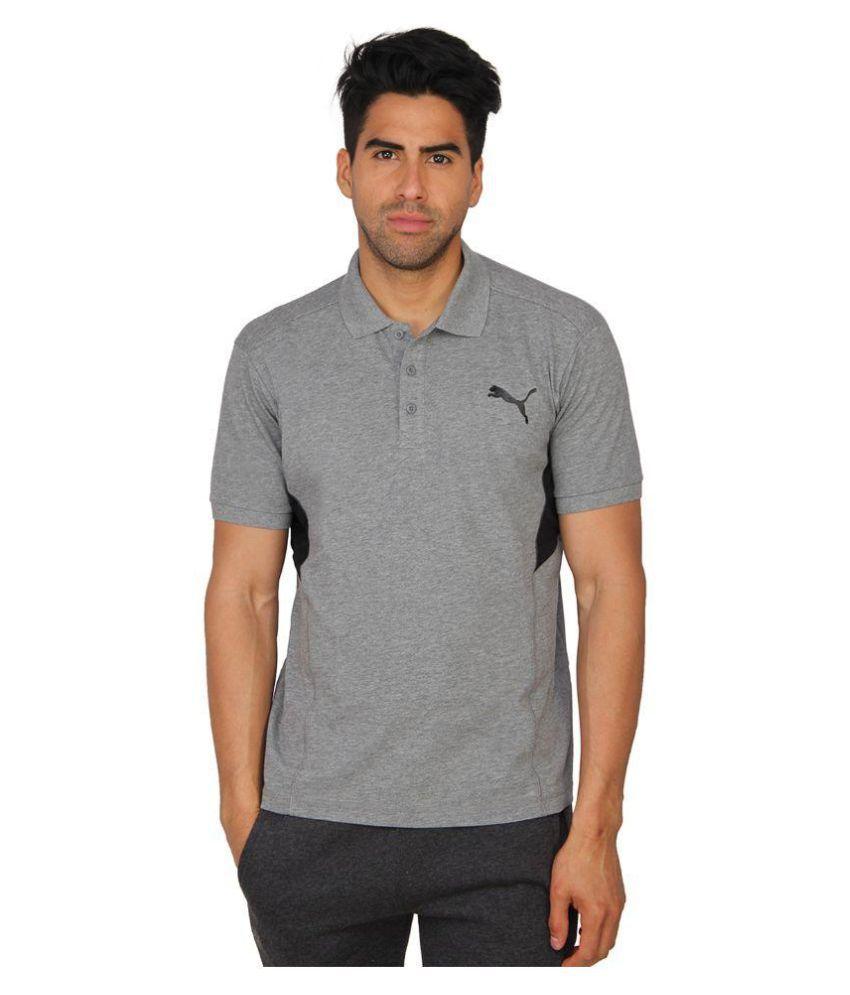 Puma Grey Slim Fit Polo T Shirt