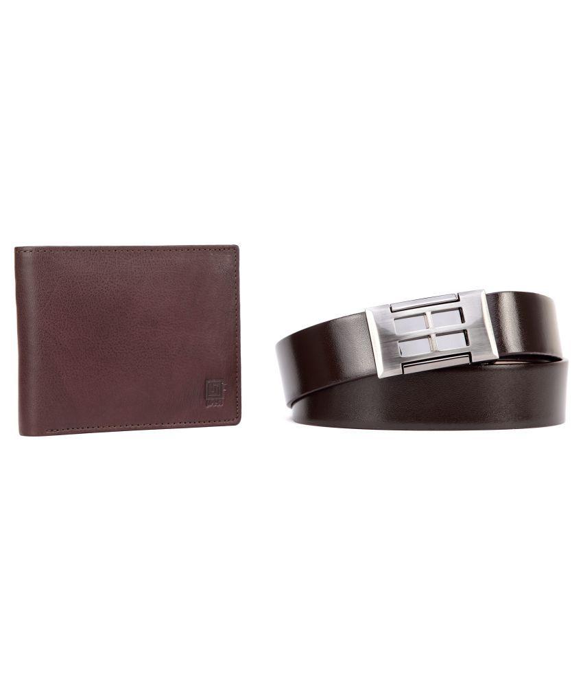 U+N Brown Formal Long Wallet with Belt - Pack of 2