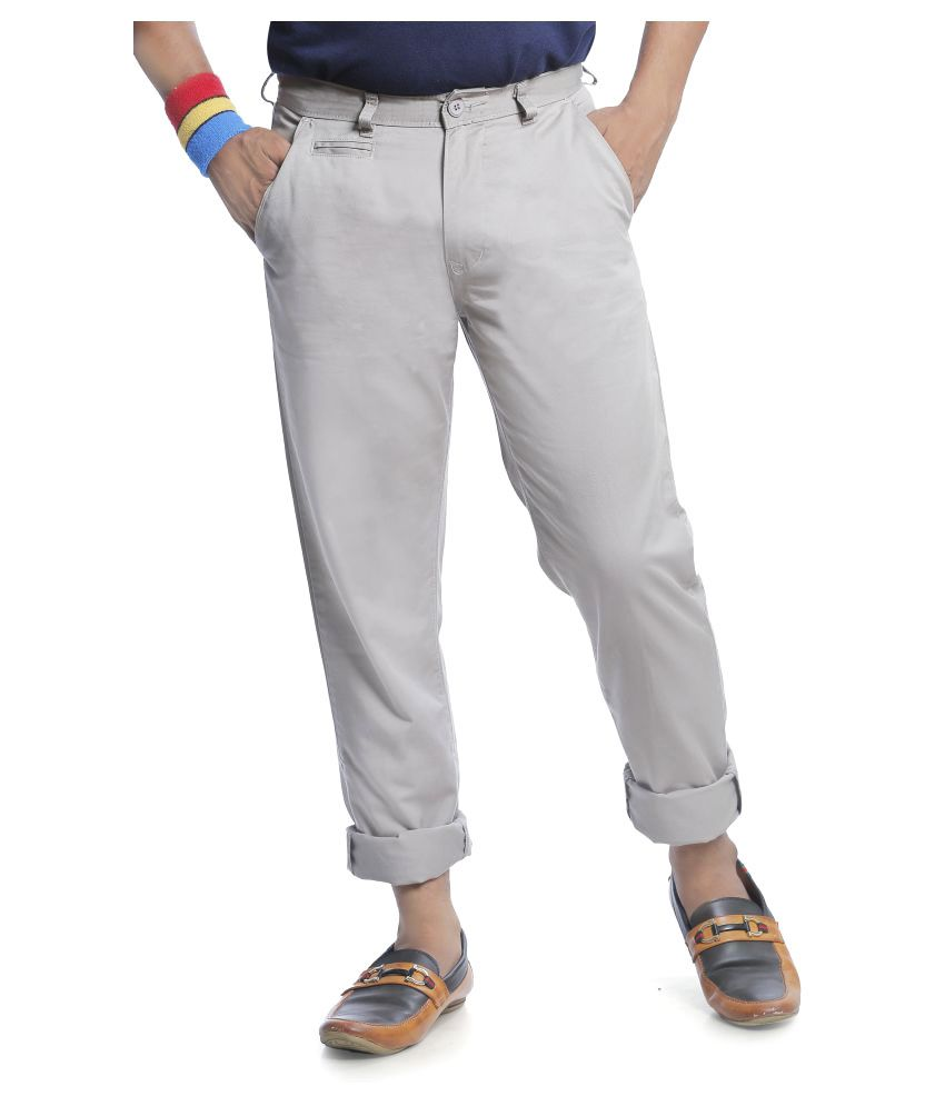 Burbn Grey Regular Flat Trouser
