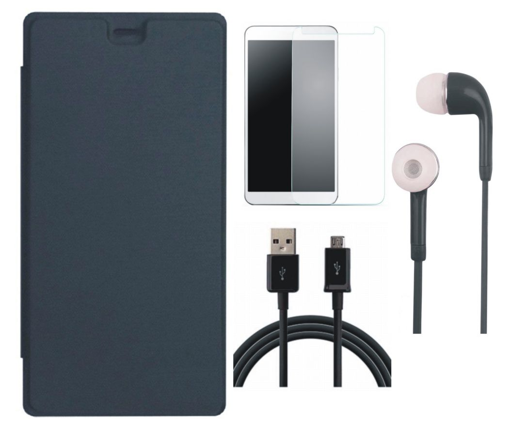 Matrix Flip Cover for Yu Yunique YU4711 with Earphones, Tempered Glass and USB Cable