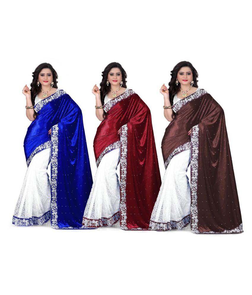Saree Sansar Multicoloured Velvet Saree Combos