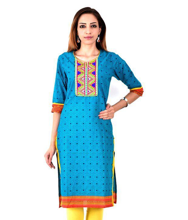 Radhika's Multicoloured Cotton Straight Resham Embroidery Kurti
