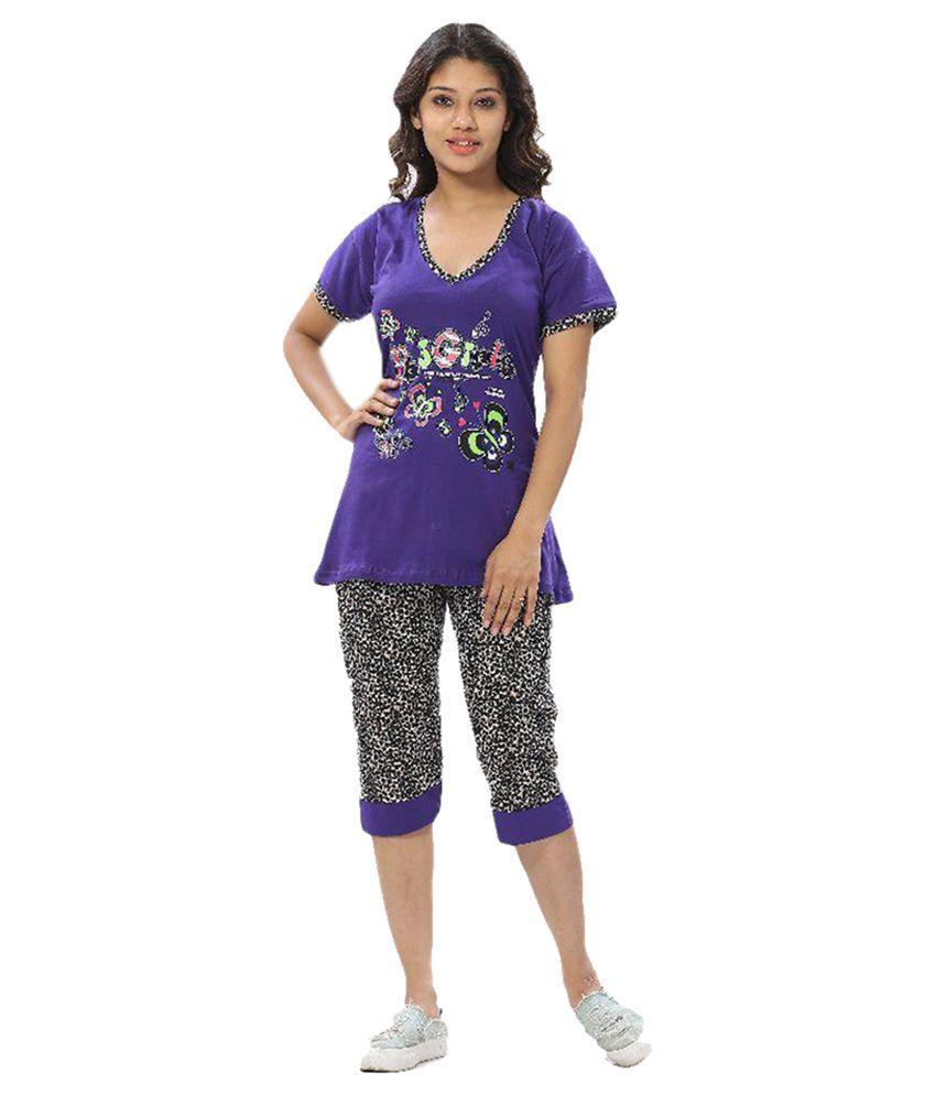 Apple Knitt Wear Purple Cotton Nightsuit Sets