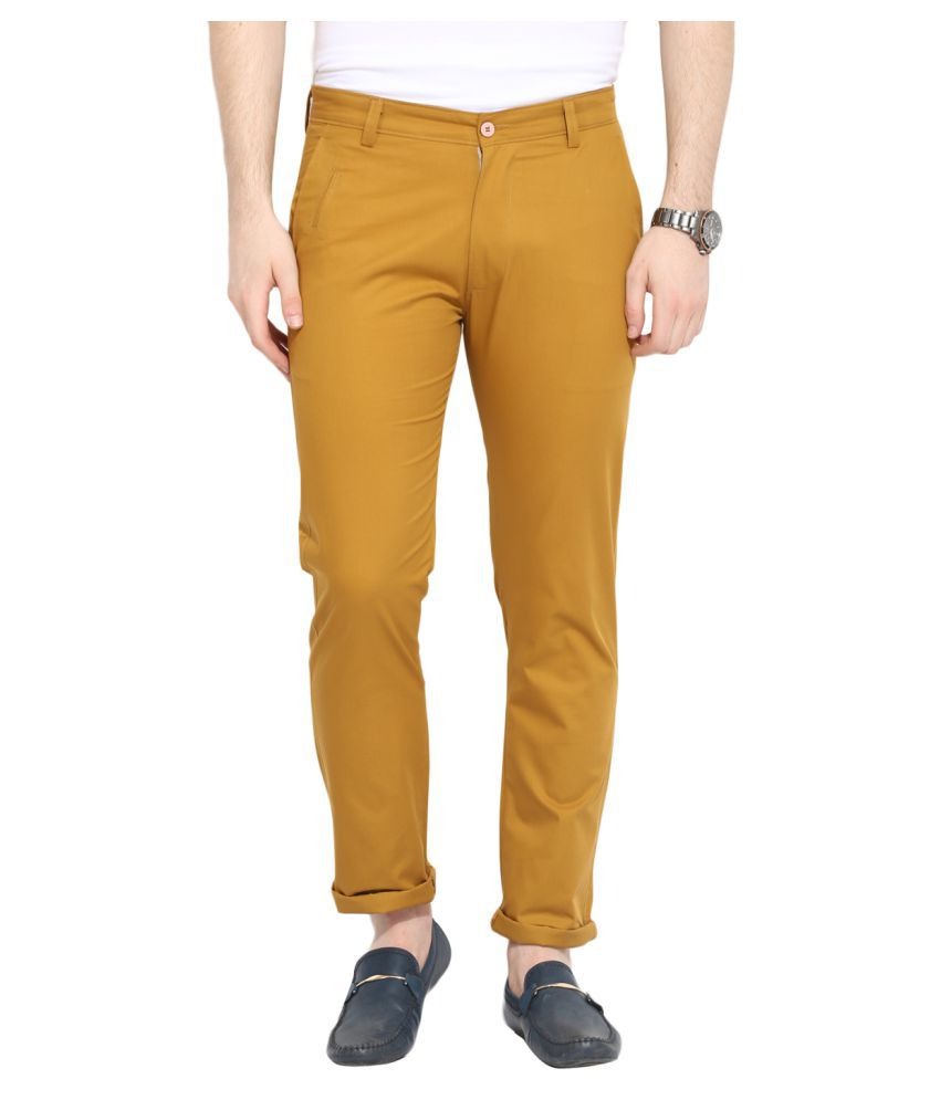 Ennoble Yellow Slim Flat Trouser