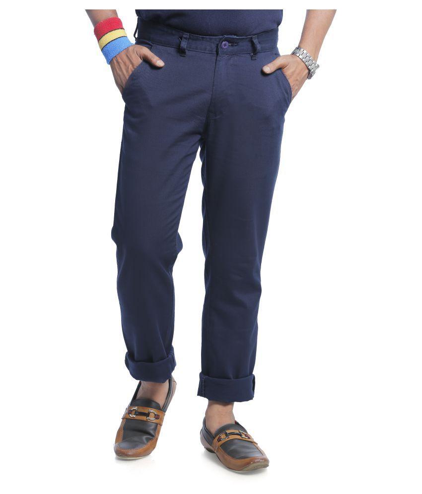 Burbn Blue Regular Flat Trouser