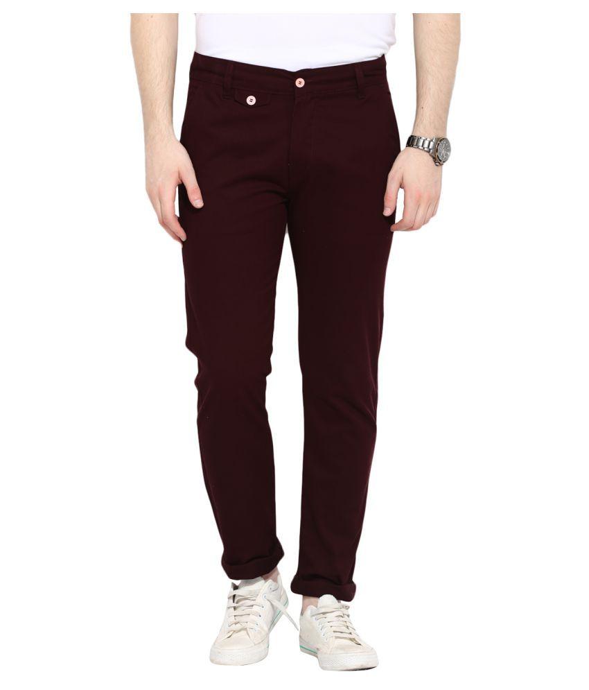 Ennoble Maroon Slim Flat Trouser