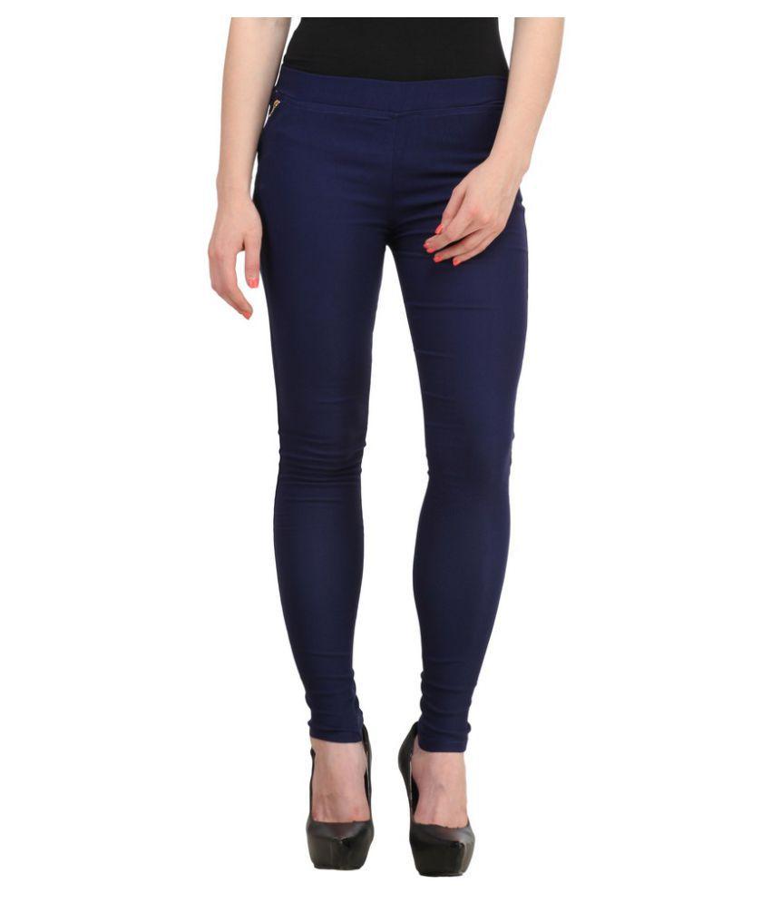 Harshaya G Blue Cotton Lycra Jeggings