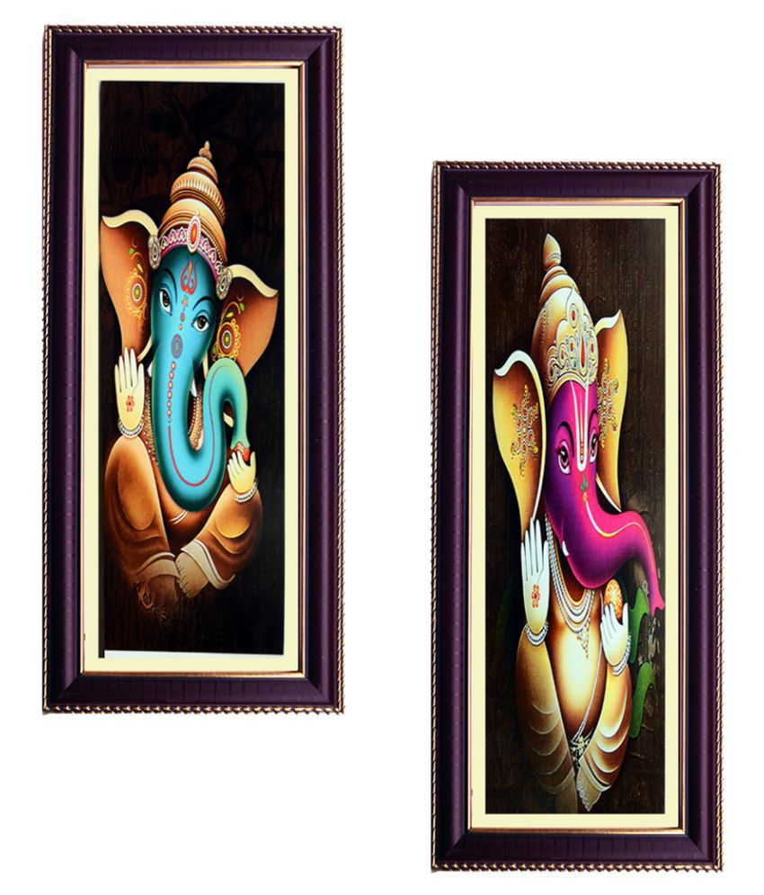 Janki Religious God 2 Set Ganesh Ji Wall Painting Wood Art Prints