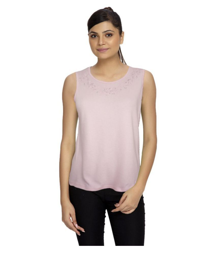 Girl Confidential Pink Cotton Lycra Tanks