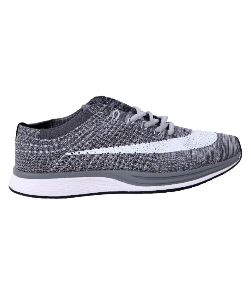 b04920d6a822 Nike NIKE FLYKNIT RACER Gray Running Shoes - Buy Nike NIKE FLYKNIT ...