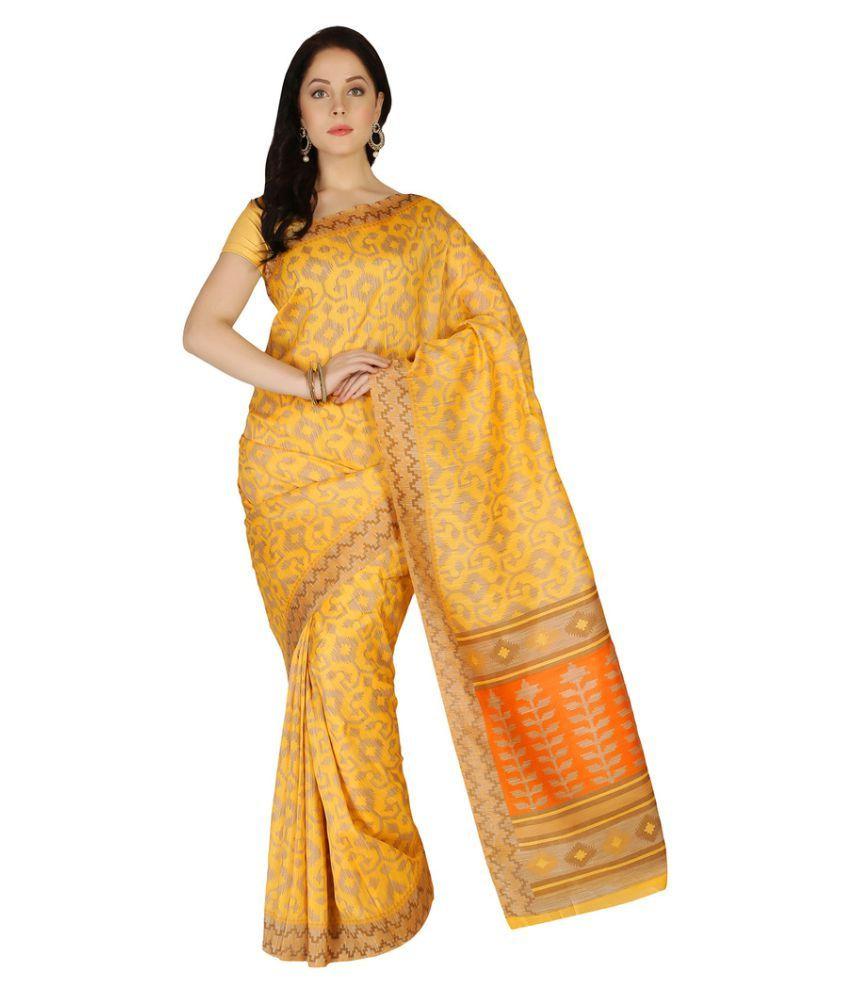 Apple Creation Yellow Bhagalpuri Silk Saree