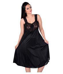 Boosah Black Satin Baby Doll Dresses Without Panty