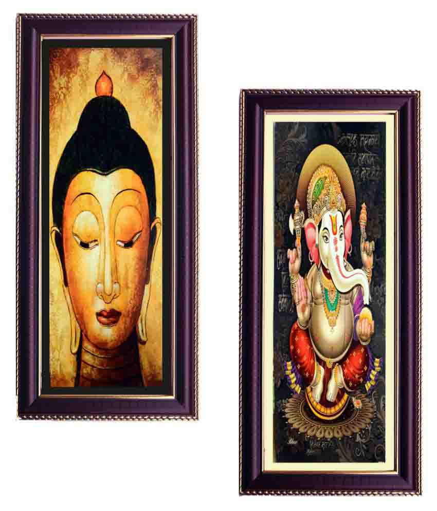 Janki Religious God Buddha And Ganesh Ji Wall Painting Combo Gift