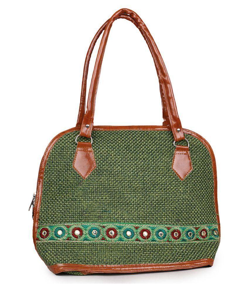 Arfa Fashions Green Jute Shoulder Bag
