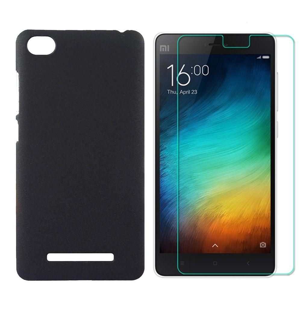 wholesale dealer 6a670 f639f Hard Back Case with Tempered Glass For Redmi Mi4i - Black - Mobile ...