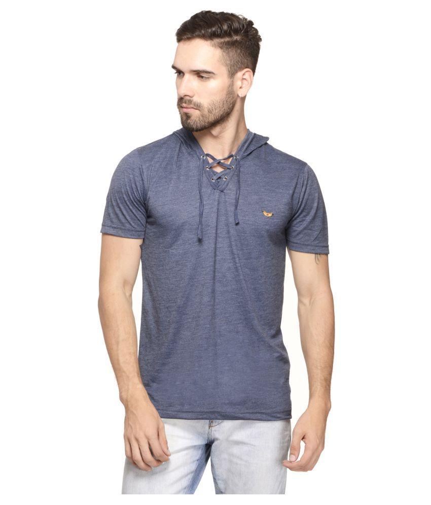 Mode Vetements Blue Hooded T-Shirt
