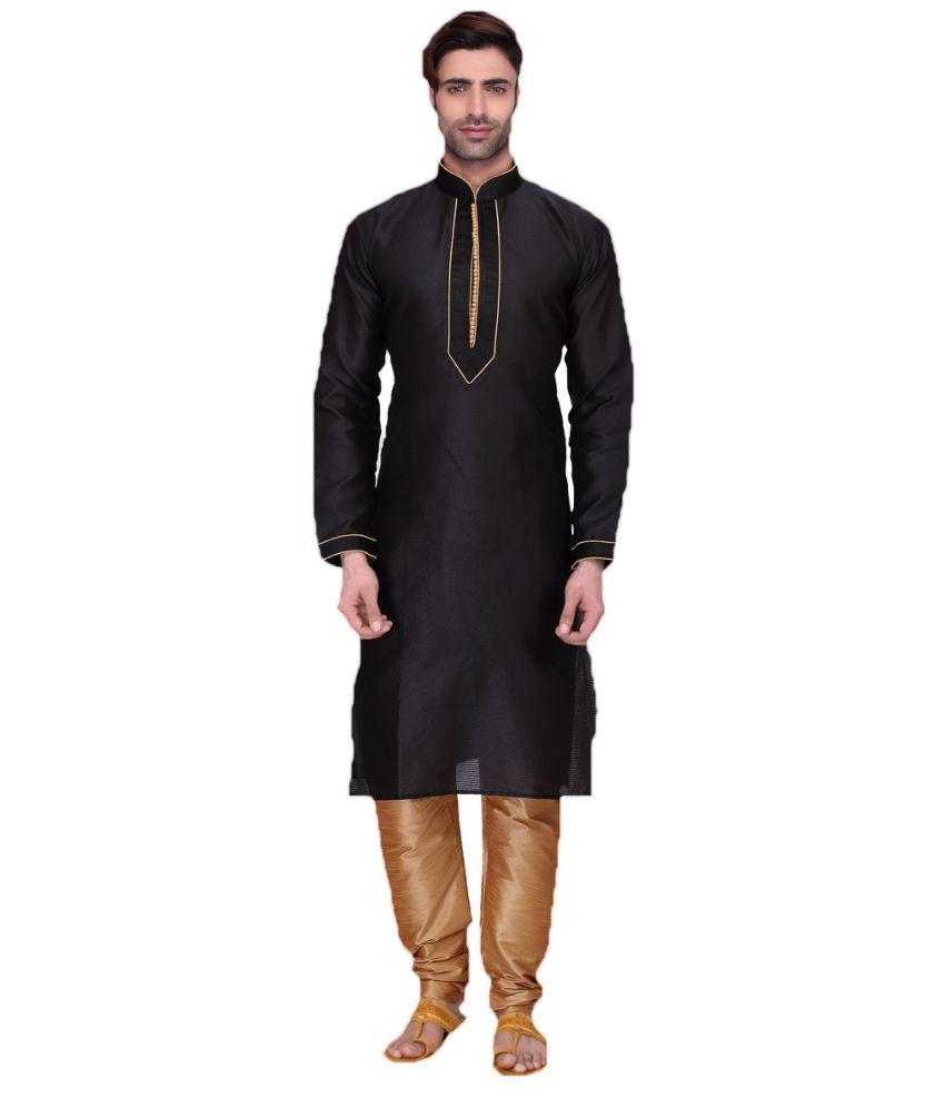 RG Designers Black Cotton Kurta Pyjama Set